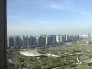 The Pudong District of Shanghai, across the Huangpu River from the historic city center.