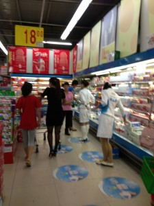 Milk product promoters at the supermarket.