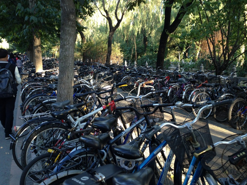 One of many areas for students to park their bicycles at world-class Tsinghua University.