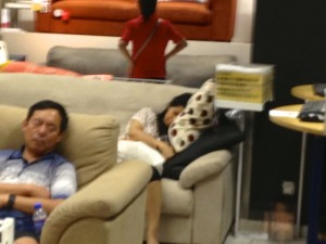 The couch display at Ikea on a Saturday afternoon.