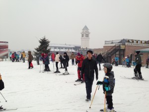 This Beijing ski area even boasts a traditional European clock tower.
