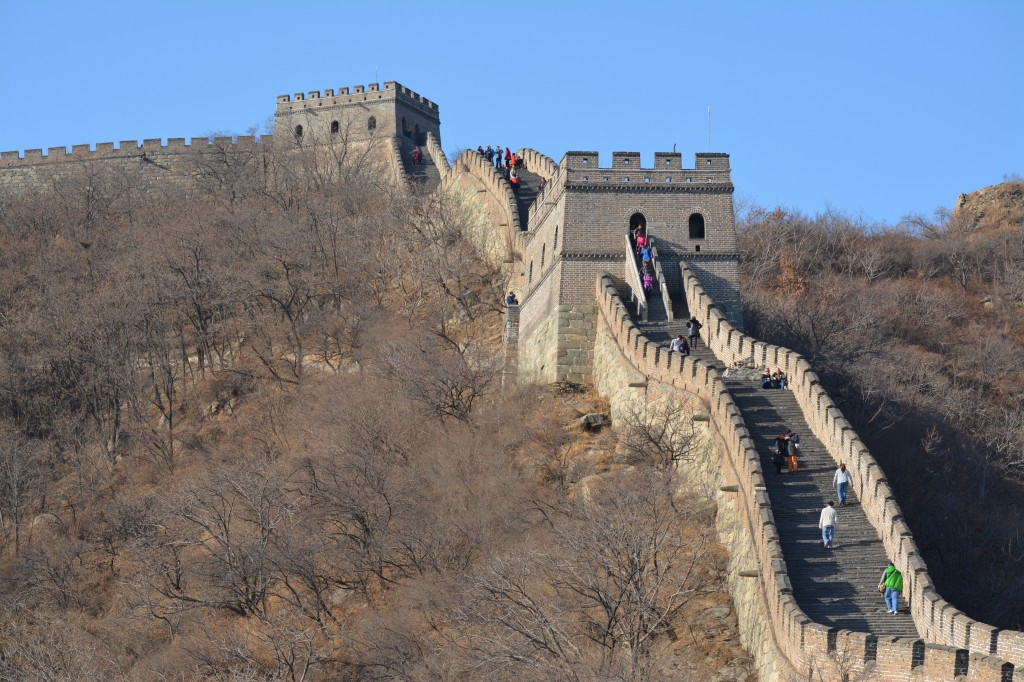 What a difference a cold front makes.  Three days after the orange alert was lifted I took this picture while climbing on the Great Wall near Mu Tian Yu.