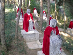 The grounds of the Hongluo Buddhist temple in northern Beijing are dotted with more than 500 statutes of Buddha, often adorned with red cloaks.