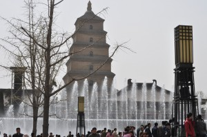 The contrast that is China today.  A modern performance fountain against the backdrop of the ancient Wild Goose Pagoda in Xi'an.