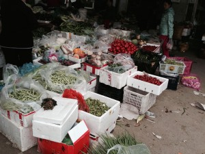 A typical Chinese 'wet market' where the Chinese, and many foreigners, shop for daily staples.  No chemicals in sight.